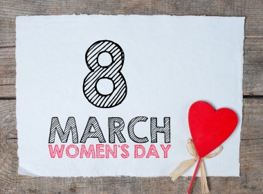 Happy Women's Day text Calligraphy And Typography Background With heart