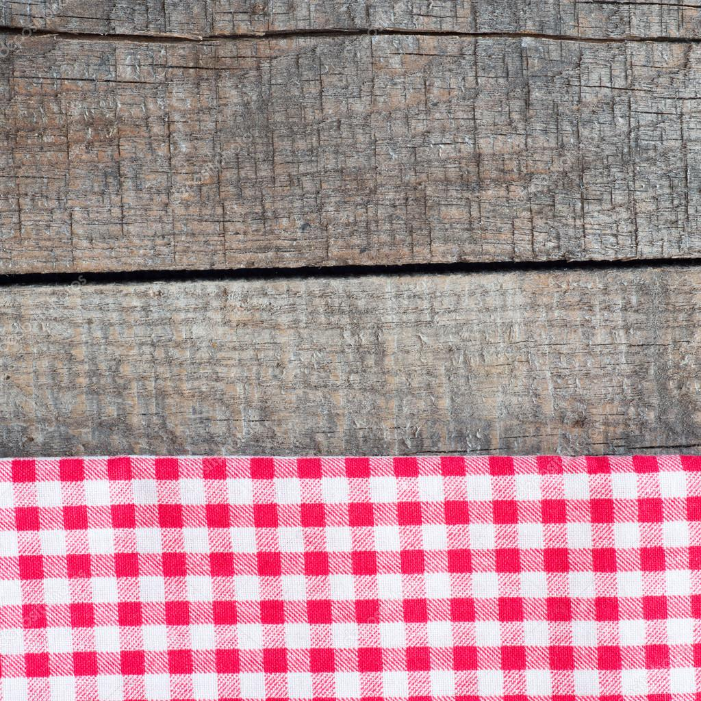 Tablecloth textile texture on wooden table — Stock Photo ...
