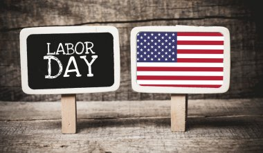 Labor Day and USA flag