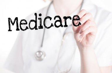 Medicare - Doctor on white background stock vector