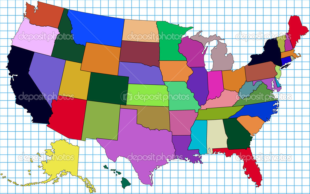 Colorful Map Of Usa.Colorful Usa Map Stock Photo C Lina0486 12560355