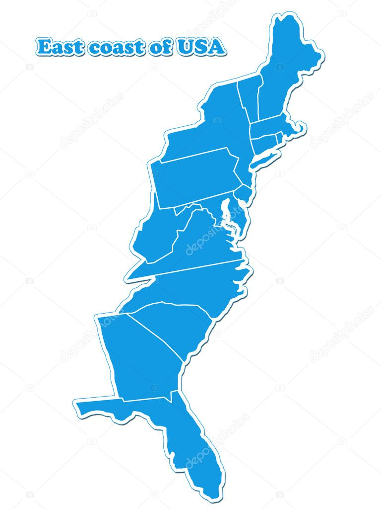 USA East Coast Map  Stock Photo  Lina - Map of east coast of usa