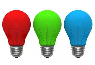 Red green blue color light bulb