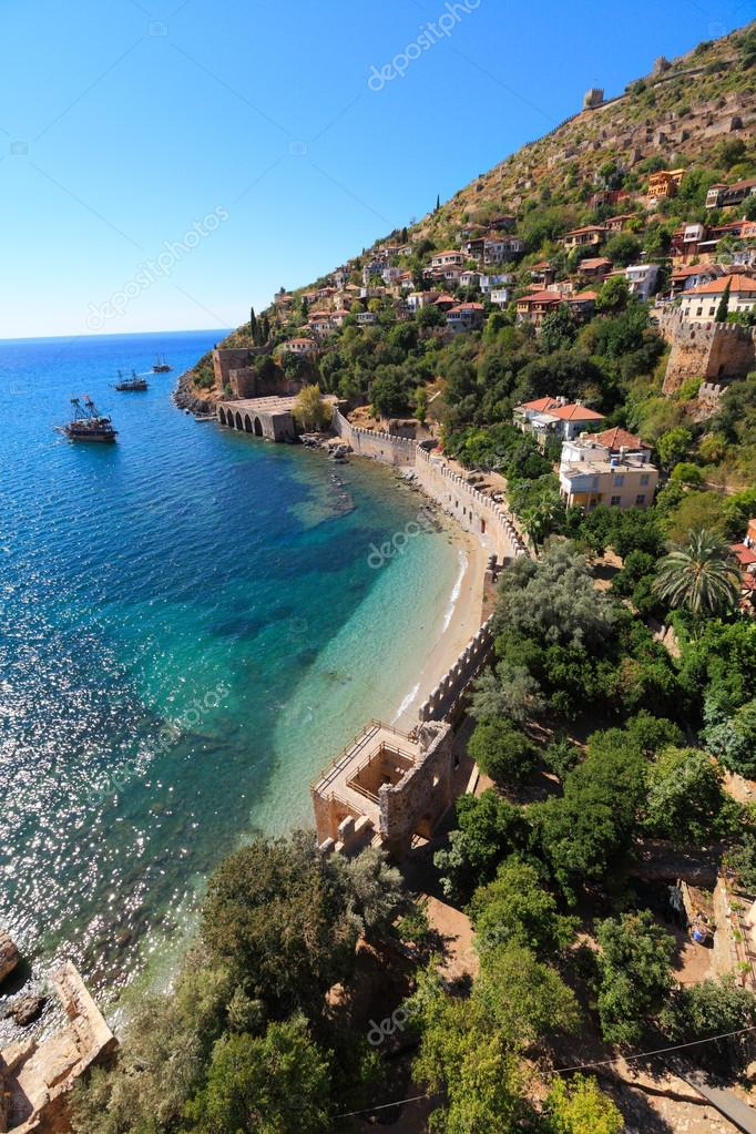 Shore of mediterranean sea, of Alanya city, Turkey