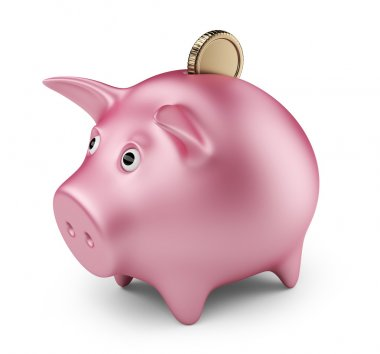 Putting coin into piggy bank. Investment. 3D Icon isolated