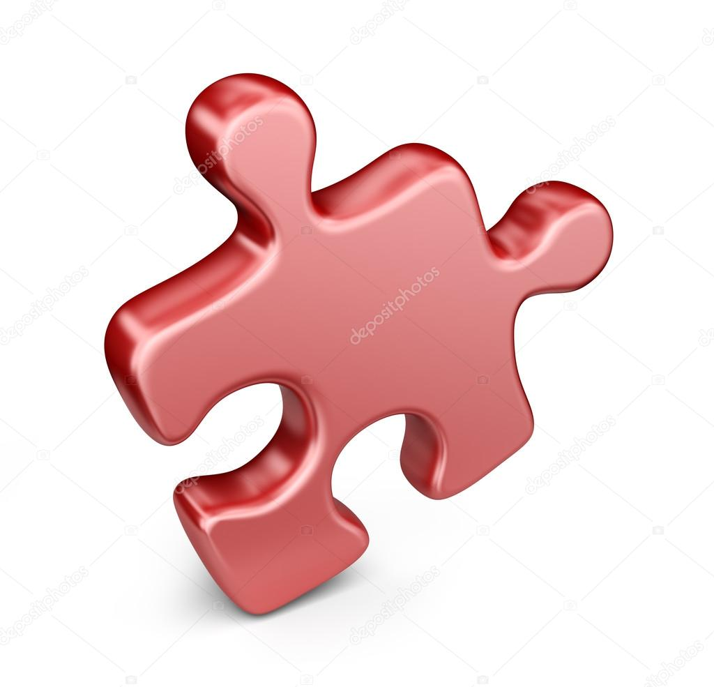 Single Jigsaw Puzzle Piece 3D Icon Isolated On White Background Stock Photo