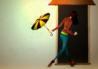 Autumn Background | Young Woman hiding from Rain with Umbrella | Layered EPS10 Vector Illustration clip art vector