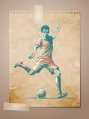 fotbal, fotbalové hráče skica na věku Poznámka pape
