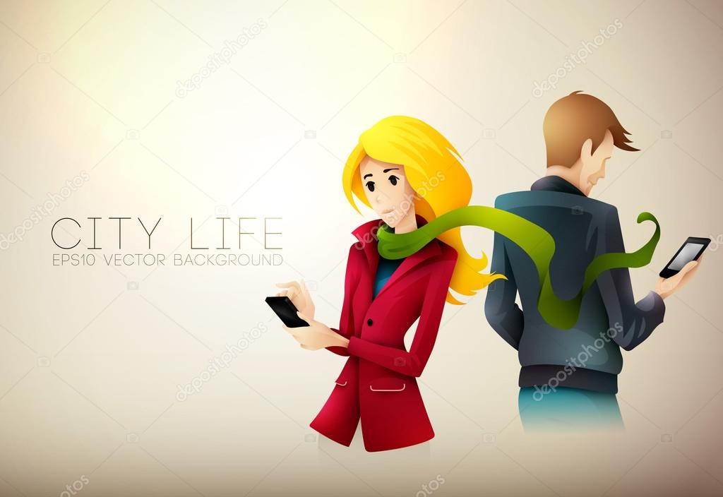 Young couple texting on phone | City Life Series