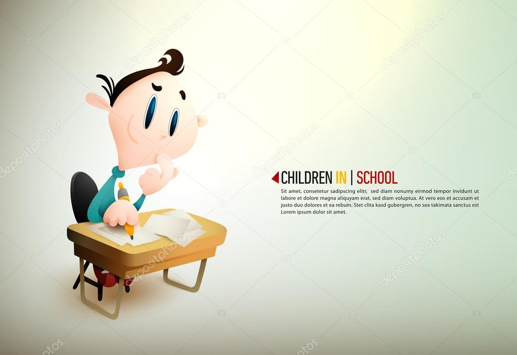Young boy sitting at a desk in school