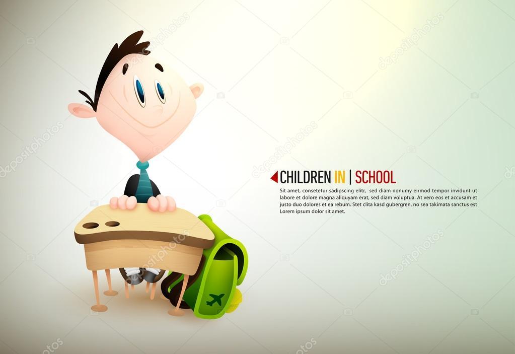 Jeune garçon assis à un bureau à l école u image vectorielle