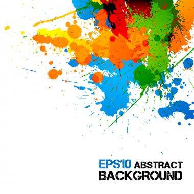 Colorful Paint - Ink Splashes - Drops - Vector Grunge Background