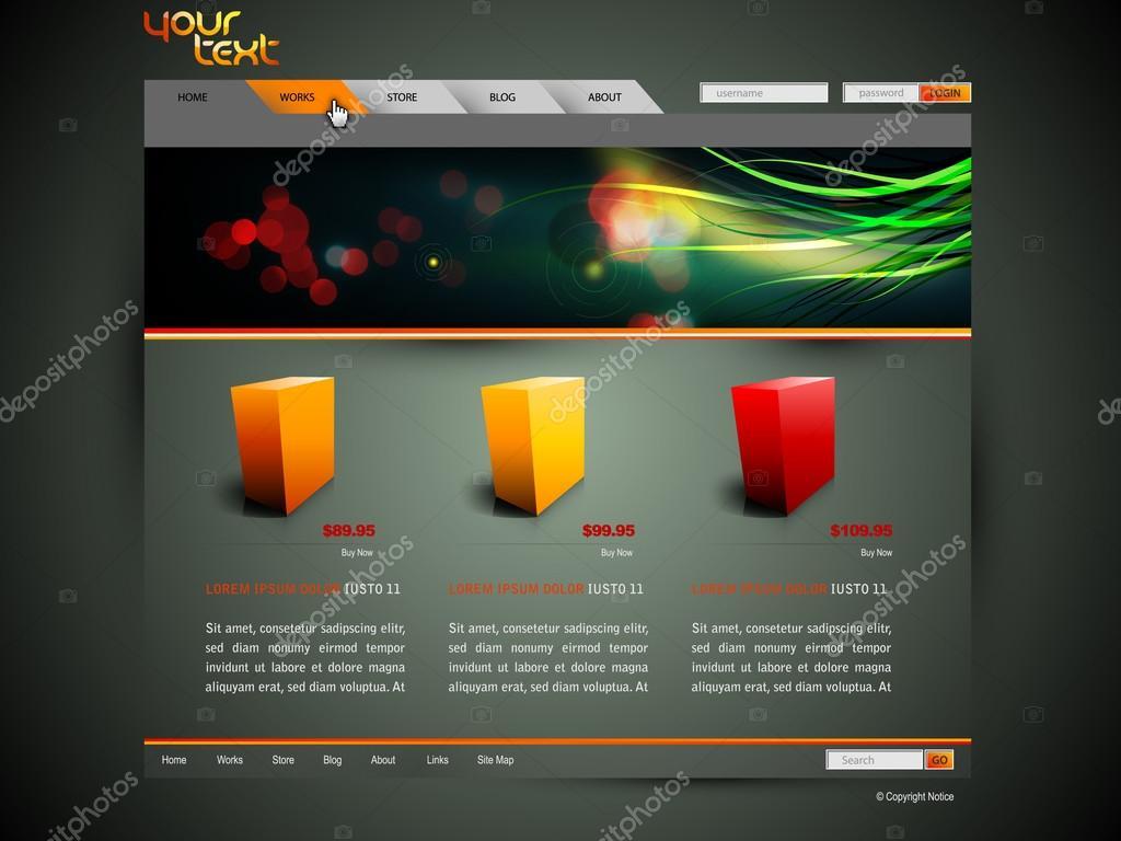 modern web site design vector template with banner design. Black Bedroom Furniture Sets. Home Design Ideas