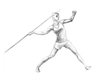 Hand-drawn Sketch, Pencil Illustration Olympic Games Athletes