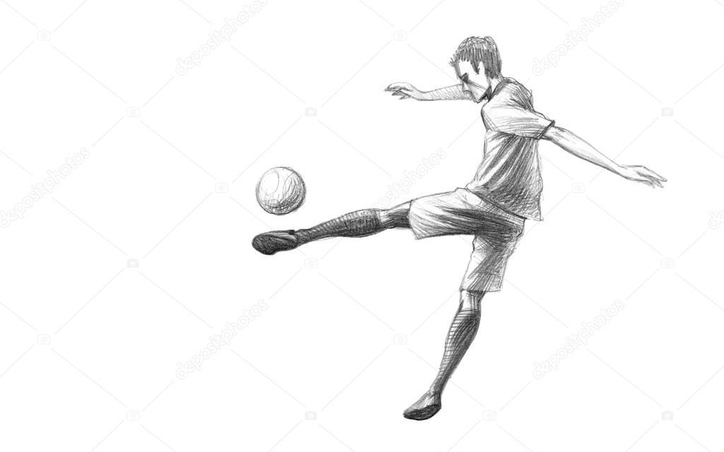 Skizze Fussballspieler Stockfoto C Zsoltercsei 31255749
