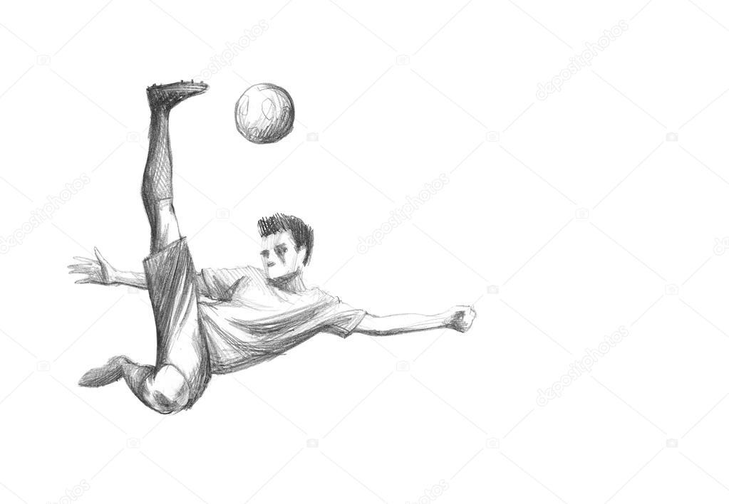 Skizze Fussballspieler Stockfoto C Zsoltercsei 31255763