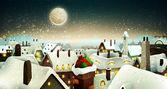 klidné město za svitu měsíce na Štědrý den