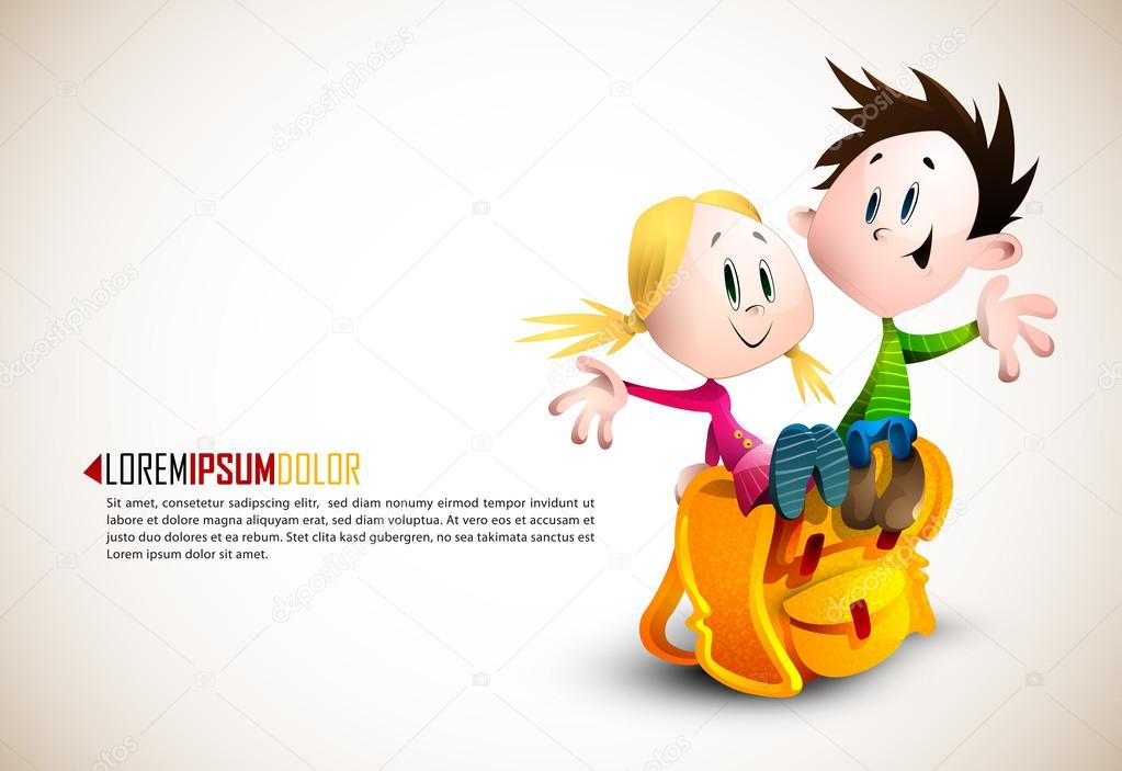 Cute Boy and Girl sitting on School Backpack