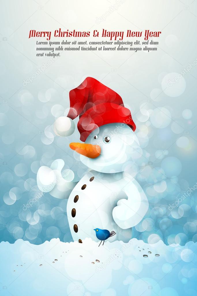 Pupazzo di neve con cappello di Babbo Natale in comunione con un uccellino  blu– illustrazione stock 49248d2e9f43