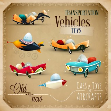 Old and New Toys - Aircraft, planes and Vehicles - EPS10 Vector Set clip art vector