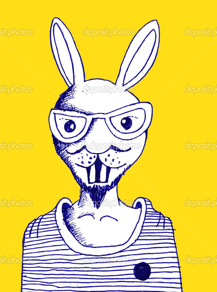 Animali del fumetto e cartone animato coniglio in stile