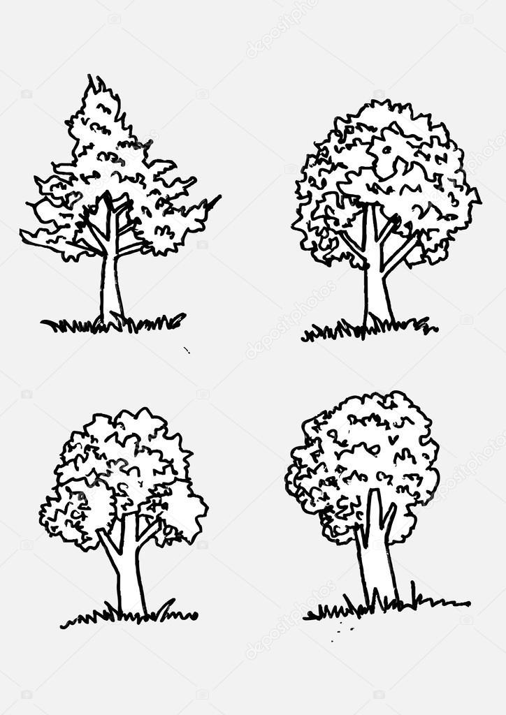 Vector árboles con hojas — Vector de stock © porjai #31876337