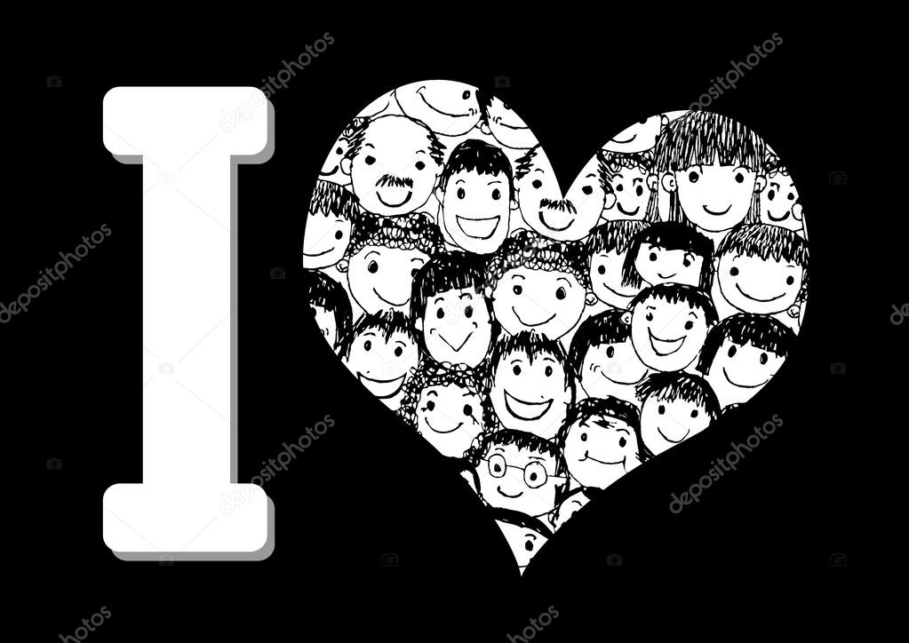 Ich liebe Menschen Herzen der Menschen-Menschen-Symbol — Stockvektor ...