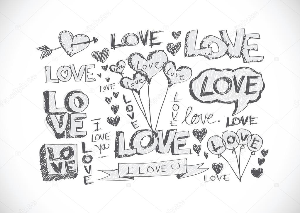 Hand Draw Valentine S Day Design Stock Vector C Porjai 40217547
