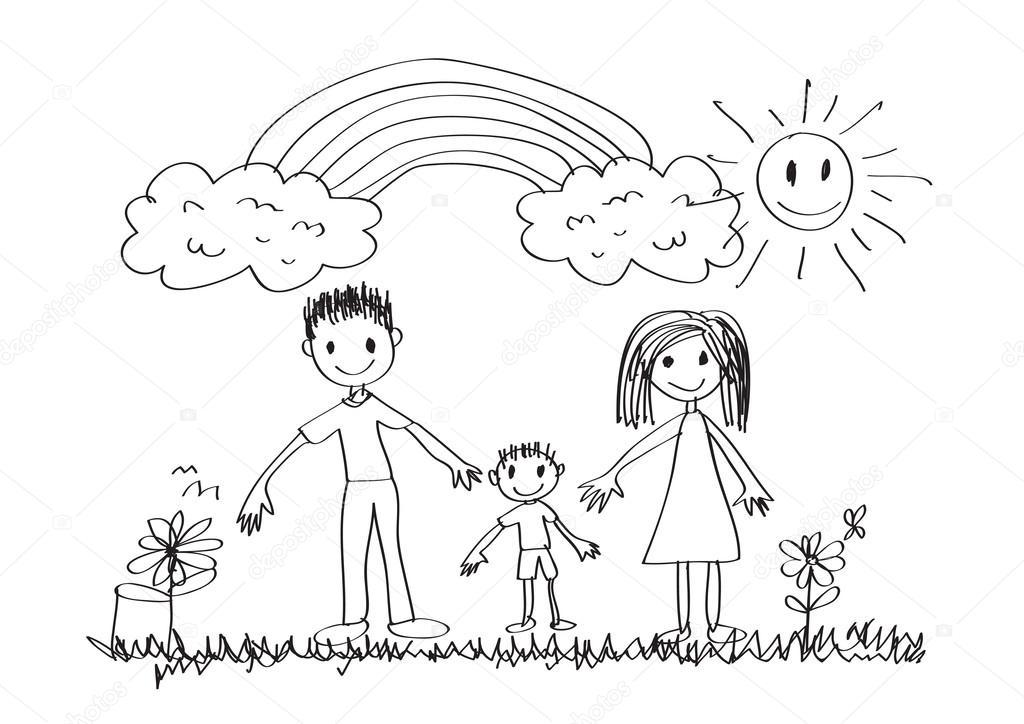 Ninos Dibujo Familia Feliz Vector De Stock C Porjai 41259637