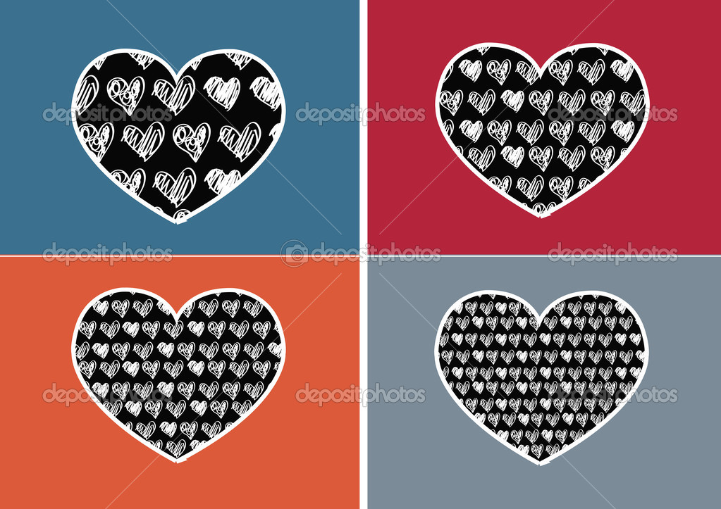 Heart Icon And Hearts Symbol Lines Abstract Idea Design Stock
