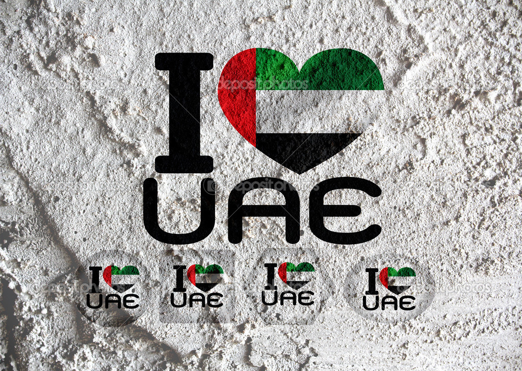 Love United Arab Emirates Flag Sign Heart Symbol On Cement Wal