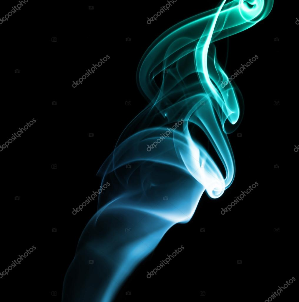 Blue Green Abstract Smoke on Black Background
