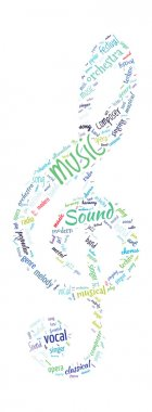 Note Shaped Word Cloud Music Concept
