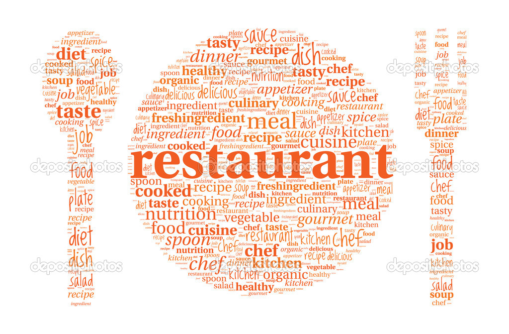 restaurant concept plate spoon and fork shaped word cloud stock
