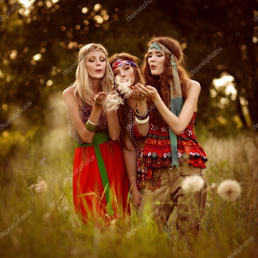 Girl of hippie in the field