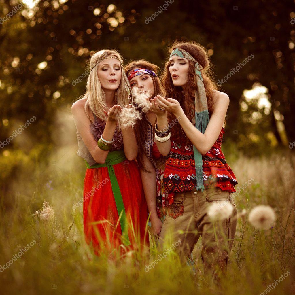 Girl of hippie in the field