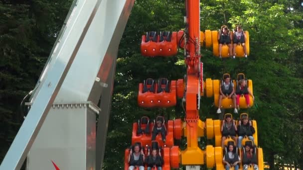 Extreme swing at amusement park