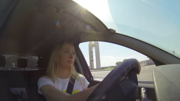 Blonde Behind The Wheel Of The Machine