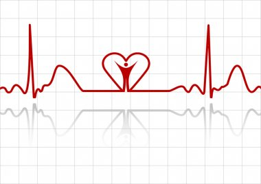 Background with ECG lines, human and heart stock vector