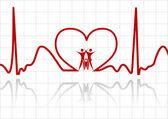 absztrakt EKG családi vektorral
