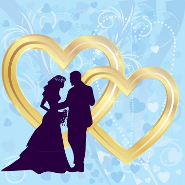 Silhouettes of bride and groom on a blue background with two golden hearts
