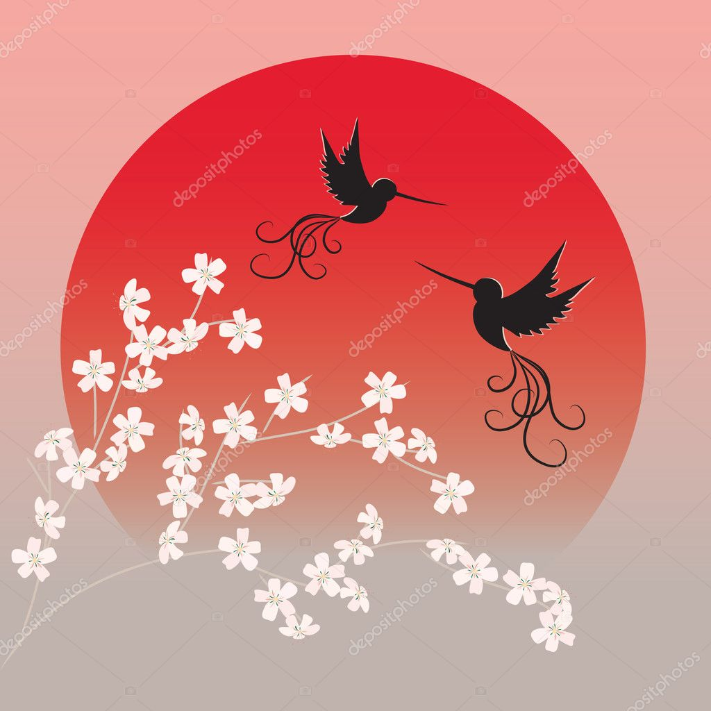 Two flying birds and sakura branches in front of red rising sun