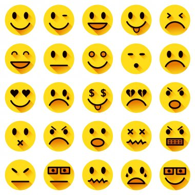 Vector icons of yellow smiley faces with long shadows