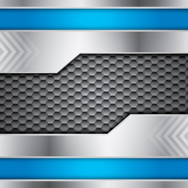 Abstract metallic vector background with steel and blue colors