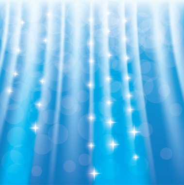 Blue sparkle background with stars and rays