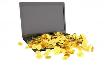 Laptop and coins