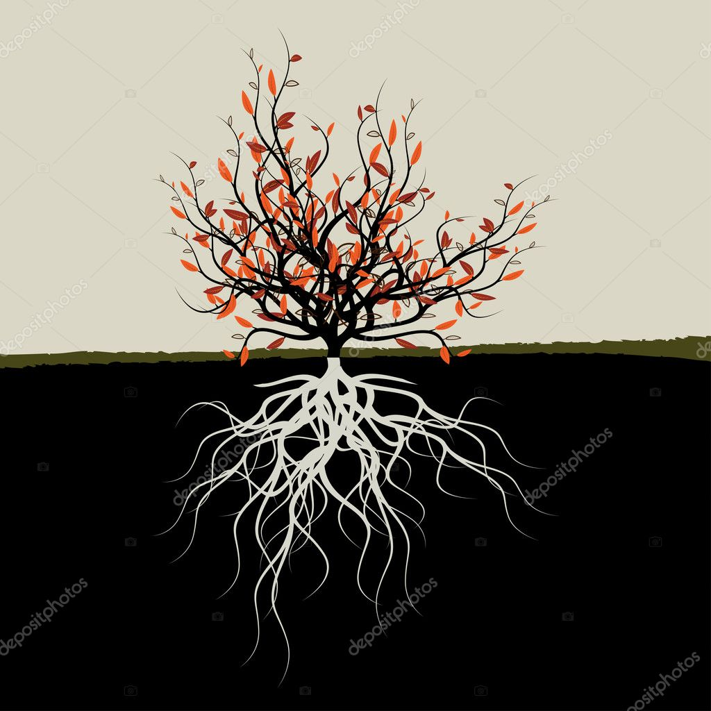 Graphic illustration of tree with roots