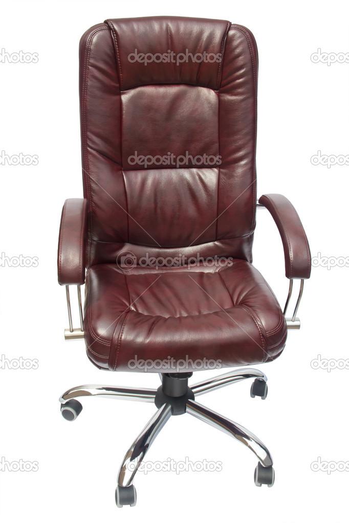 silla de oficina tapizado de cuero de color grana — Foto de stock ...
