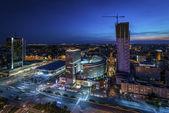 Fotografia panorama notturno di Varsavia