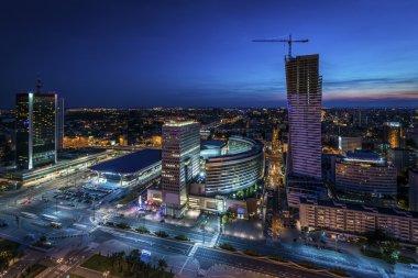 Night panorama of Warsaw